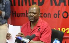 The SACP's second deputy general secretary Solly Mapaila briefed the media confirming President Jacob Zuma's intention to reshuffle his cabinet. Picture: Christa Eybers/EWN.