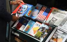 A misinformation newsstand is seen in midtown Manhattan on 30 October 2018, aiming to educate news consumers about the dangers of disinformation, or fake news, in the lead-up to the US midterm elections. The first-of-its-kind newsstand was set up by the Columbia Journalism Review. Picture: AFP