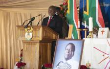 President Cyril Ramaphosa speaks during the memorial service of King Goodwill Zwelithini at the KwaKhethomthandayo royal palace in Nongoma, South Africa, on 18 March 2021. Picture: Phill Magakoe/AFP