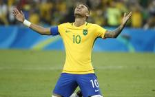 Brazil's forward Neymar celebrates scoring the winning goal during the Rio 2016 Olympic Games men's football gold medal match between Brazil and Germany.  Picture: AFP