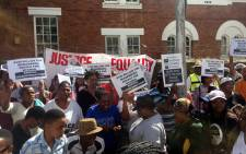 The Social Justice Coalition demonstrated outside the police's Western Cape headquarters in Green Point on 11 April 2017 over plans to construct a R100 million police station in Muizenberg. Picture: Xolani Koyana/EWN.