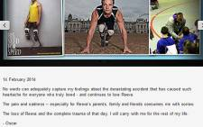 A screenshot from the Oscar Pistorius website with the message he posted on 14 February 2014. Picture: OscarPistorius.com