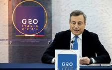 Italy's Prime Minister Mario Draghi speaks during a press conference following a G20 virtual summit focused on Afghanistan in Rome, on 12 October 2021. Picture: Tiziana Fabi / AFP
