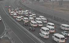 Taxis hold up traffic on N1 Northbound after the Maraisburg Interchange. Picture: @itrafficgp/Twitter