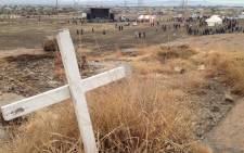 FILE: A cross erected on the Koppie after the massacre as a symbol of the lives lost two years ago in Marikana. Picture: EWN.