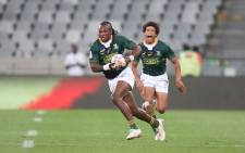 Seabelo Senatla and Kurt-Lee Arendse in action for the Blitzboks during the HSBC World Rugby Sevens Series match against Japan on 13 December 2019 at the Cape Town Stadium in Cape Town, South Africa. Picture: @Blitzboks/Twitter