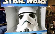 This file picture taken on July 31, 2008 shows an official Star Wars replica stormtrooper helmet in a fantasy memorabilia store in London. Picture: AFP