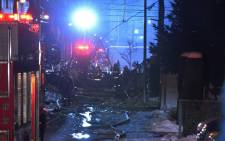 Firefighters carry on rescue works after an explosion at a restaurant in Sapporo, in the northern Hokkaido prefecture on 16 December, 2018. Dozens have been injured and no casualties have been reported. Picture: AFP.