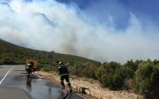 Cape Town fire trucks on Chapman's Peak trying to stop the fire from spreading towards Hout Bay. Picture: Aletta Gardner/EWN