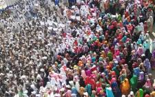 Crowds of supporters of the Sudanese President gather in Sudan's eastern city of Kassala on 7 January 2019. Picture: AFP