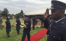Gauteng SAPS officers commemorate their fallen during a ceremony at the Linden Police Station. Picture: Vumani Mkhize/EWN.