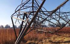 The collapsed pylon in Nigel, southeast of Johannesburg, that has left resident without power. Picture: Supplied