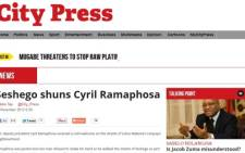 A screenshot of the article the ANC says was fabricated by the 'City Press' newspaper. Picture: CityPress.co.za.