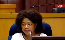 National Assembly Speaker Baleka Mbete at a meeting of the chief whips of political parties to discuss Thursday's motion of no confidence against President Zuma.