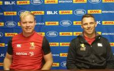 Golden Lions captain Ross Cronjé with coach Ivan van Rooyen. Picture: Twitter/@LionsRugbyCo