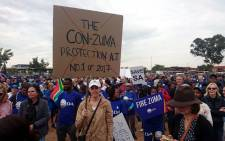 South Africans marched against President Jacob Zuma on 7 April 2017 following his Cabinet reshuffle in which Pravin Gordhan was removed as finance minister. Picture: @OurDA/Twitter