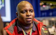 The EFF's Floyd Shivambu spoke to the media at the IEC's national results centre in Pretoria on 4 August 2016. Picture: Reinart Toerien/EWN.