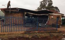 Residents of Gugulethu torched a building belonging to the CPF and Transnet. Picture: Lesego Ngobeni/EWN.