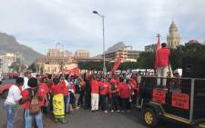 Cosatu members gathering outside the Castle of Good Hope in Cape Town for the May Day march. Picture: Monique Mortlock/EWN.