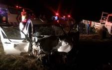Bakkie damaged after it collided with a cow on Maropeng Road in Krugersdorp on 25 June, 2015. Picture: Twitter @ER24EMS.