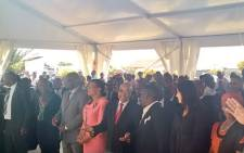President Jacob Zuma arrived at the Tamboville Cemetery to commemorate the life of former ANC President Oliver Tambo. He's seated next to Dali Tambo and Graca Machel. Picture: Govan Whittles/EWN.