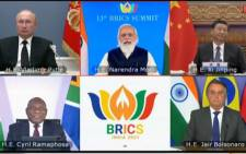 The 'family photo' of the leaders of the BRICS nations during the 2021 BRICS Summit held virtually on 9 September 2021. Picture: Twitter/@PresidencyZA