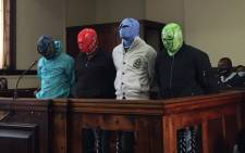 Tshepiso Kekana, Cidraas Motseothata, Madimetja Legodi and Victor Mohammed appear in the Johannesburg Magistrate Court on 26 March 2021. Picture: Veronica Mokhoali/Eyewitness News