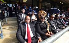 Former presidents Thabo Mbeki and Jacob Zuma sit among delegates in the VIP section at Winnie Madikizela-Mandela's funeral on 14 April 2018. Picture: GCIS.