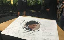 Condolences are written on a photo of late ANC stalwart Winnie Madikizela-Mandela at a church service in Bizana on 10 April 2018. Picture: Ziyanda Ngcobo/EWN