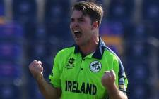 Ireland's Curtis Campher celebrates taking a wicket against the Netherlands in their T20 World Cup match on 18 October 2021. Picture: @T20WorldCup/Twitter