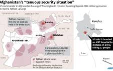 "Map on the latest situation in Afghanistan. Includes Taliban attack zones and location of the MSF hospital which was ""mistakenly"" hit by an American air strike, a top US commander said Tuesday."