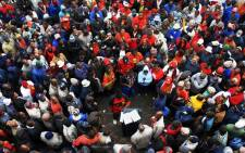 FILE: Samwu members march for improved wages. Picture: AFP.