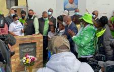 Action SA leader unveiled a memorial in honour of Nathaniel Julies, a year after the 16-year-old boy, who had down syndrome, was killed. He had been buying biscuits at a local tuck shop when officers opened fire on him. Picture: @Action4SA/Twitter.