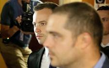 Oscar Pistorius arrives at the High Court in Pretoria on the fourth day of the trial. Picture: Aletta Gardener/EWN