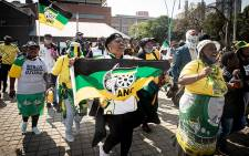 Jacob Zuma supporters outside the State Capture commission on Friday, 9 October 2020. Supporters were present when the application to issue a summons to order Zuma to appear at the commission was heard. Picture: Xanderleigh Dookey/Eyewitness News