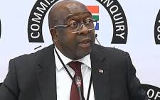 A video screengrab shows Finance Minister Nhlanhla Nene giving testimony at the state capture commission of inquiry on 3 October 2018. Picture: SABC Digital News/youtube.com