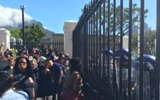 FILE: Parliament's gates closed as university students continue to protest against hikes in tuition fees. Picture: EWN.