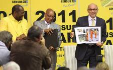 Statistician-General Pali Lehohla (L), President Jacob Zuma (C) and Planning Minister Trevor Manuel (R) revealed information contained in the 2011 census in Pretoria, on 30 October 2012. Picture: Taurai Maduna/EWN