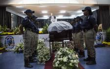 FILE: Members of the Ekurhuleni police department stand next to the coffin of late South African Jazz singer Thandi Klaasen at her funeral on 27 January 2017. Picture: Reinart Toerien/EWN