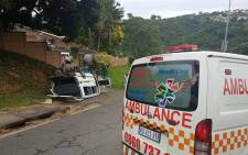 An overturned taxi in Reservoir Hills, Durban. Picture: @rescuecare/Twitter