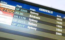A flight timetable seen at the airport in Albury. Picture: flyalbury.com.au