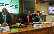Nersa chairperson Jacob Modise (C) at the briefing on the announcement of Nersa's decision on Eskom's revenue application for 2018/2019 financial year. Picture: Katleho Sekhotho/EWN.