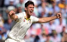 FILE: Australia's Mitchell Marsh celebrates taking the wicket of England's Jack Leach (unseen) for 21 runs during play on the second day of the fifth Ashes cricket Test match between England and Australia at The Oval in London on 13 September 2019. Picture: AFP