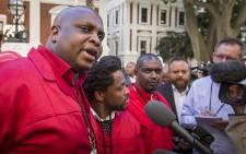 The EFF's Floyd Shivambu addresses journalists outside Parliament on 4 May 2016. Picture: Aletta Harrison/EWN