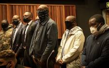 Seven suspects arrested in connection with the multibillion-rand VBS heist appeared in the Palm Ridge Magistrates Court on 8 October 2020. Picture: Xanderleigh Dookey/EWN.