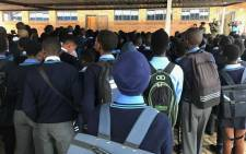 School children line up for assembly at the Mahlenga High School in the Sokhulumi village in Bronkhorstspruit. Picture: Kgothatso Mogale/EWN