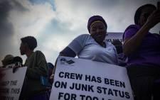 FILE: SAA cabin crew members on strike. Picture: Thomas Holder/EWN.