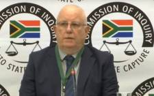 A screengrab of acting CEO of the South African Bureau of Standards (SABS) Garth Strachan appearing at the state capture inquiry on 13 September 2019.