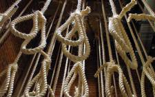 Nooses on display at the Apartheid Museum in Johannesburg. Picture: AFP
