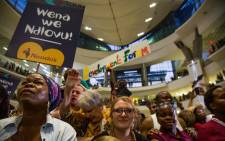 South Africans gathered at the OR Tambo International Airport to welcome the Ndlovu Youth Choir after they came in second on 'America's Got Talent'. Picture: Kayleen Morgan/EWN.